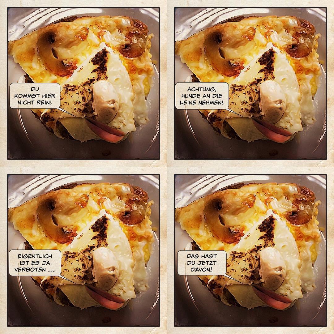Rührei-mit-Pilzen-Gesicht als Collage aus vier Bildern, samt Sprechblasen und Dadamonologen