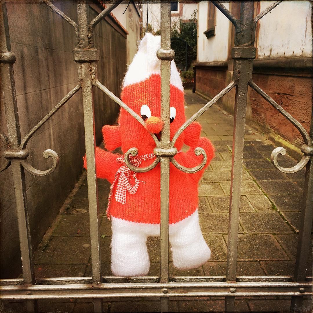 Schmiedeiserne Gartentüre mit einem roten handgestrickten Zwergfigur, deren Nase in eine Lücke in der Tür geklemmt ist i