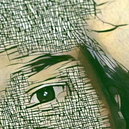 Gesichtsteil mit Auge - verappt, also digital verfremdet mit Apps